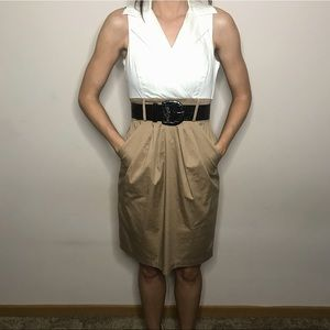 White and Khaki Collared Tank Dress with Belt